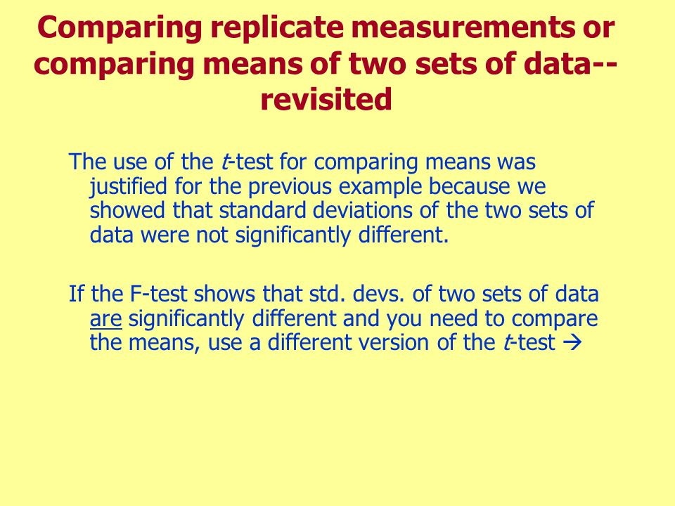 Comparing replicate measurements or comparing means of two sets of data-- revisited The use of the t-test for comparing means was justified for the pr