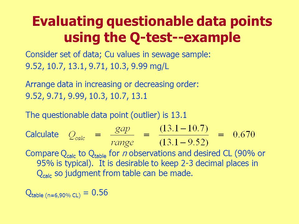 Evaluating questionable data points using the Q-test--example Consider set of data; Cu values in sewage sample: 9.52, 10.7, 13.1, 9.71, 10.3, 9.99 mg/