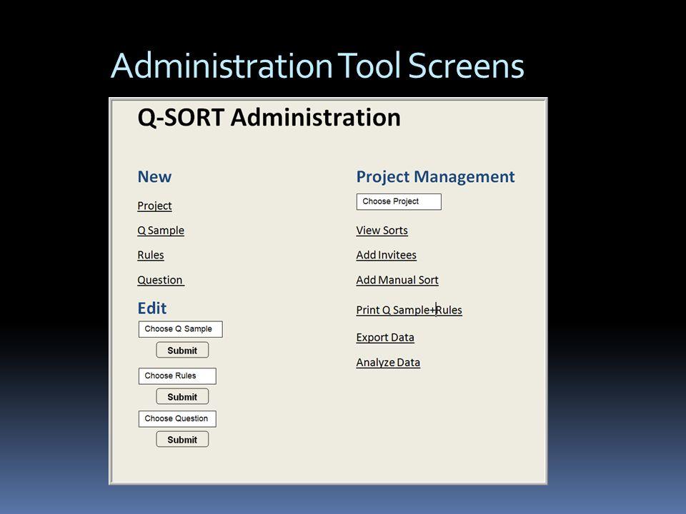 Administration Tool Screens