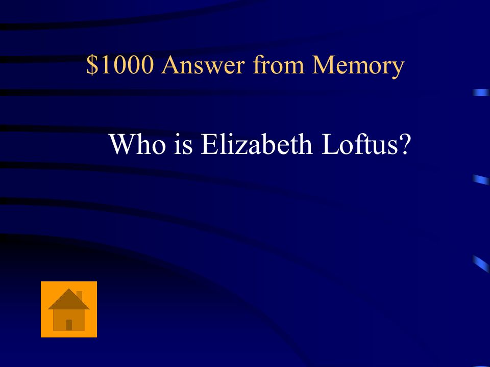 $1000 Question from Memory She is a leading expert on eyewitness testimony.