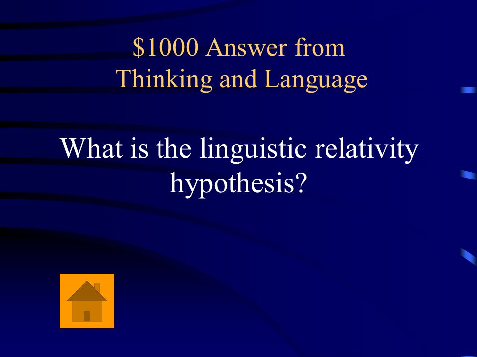 $1000 Question from Thinking and Language The belief that language determines how we think.