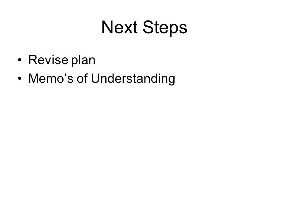 Next Steps Revise plan Memos of Understanding