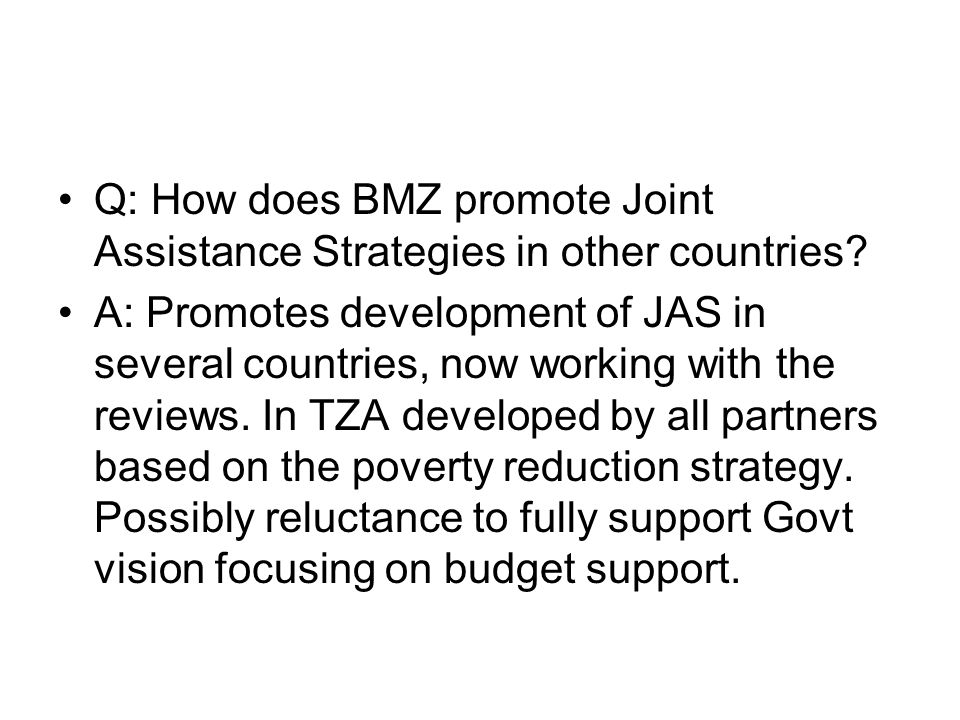 Q: How does BMZ promote Joint Assistance Strategies in other countries? A: Promotes development of JAS in several countries, now working with the revi