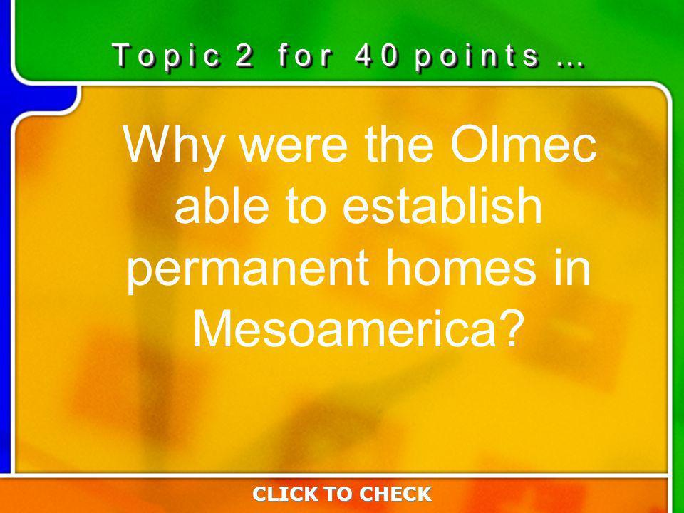 2:402:40 Why were the Olmec able to establish permanent homes in Mesoamerica.