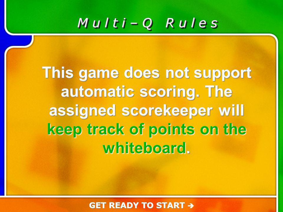 Game Rules M u l t i – Q R u l e s This game does not support automatic scoring.