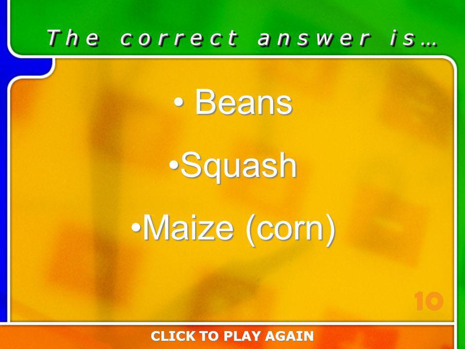6:10 Answer T h e c o r r e c t a n s w e r i s … Beans Beans SquashSquash Maize (corn)Maize (corn) CLICK TO PLAY AGAIN 10