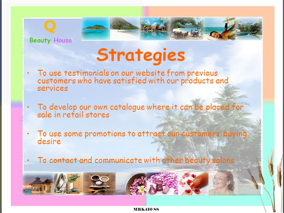 Strategies To use testimonials on our website from previous customers who have satisfied with our products and services To develop our own catalogue w