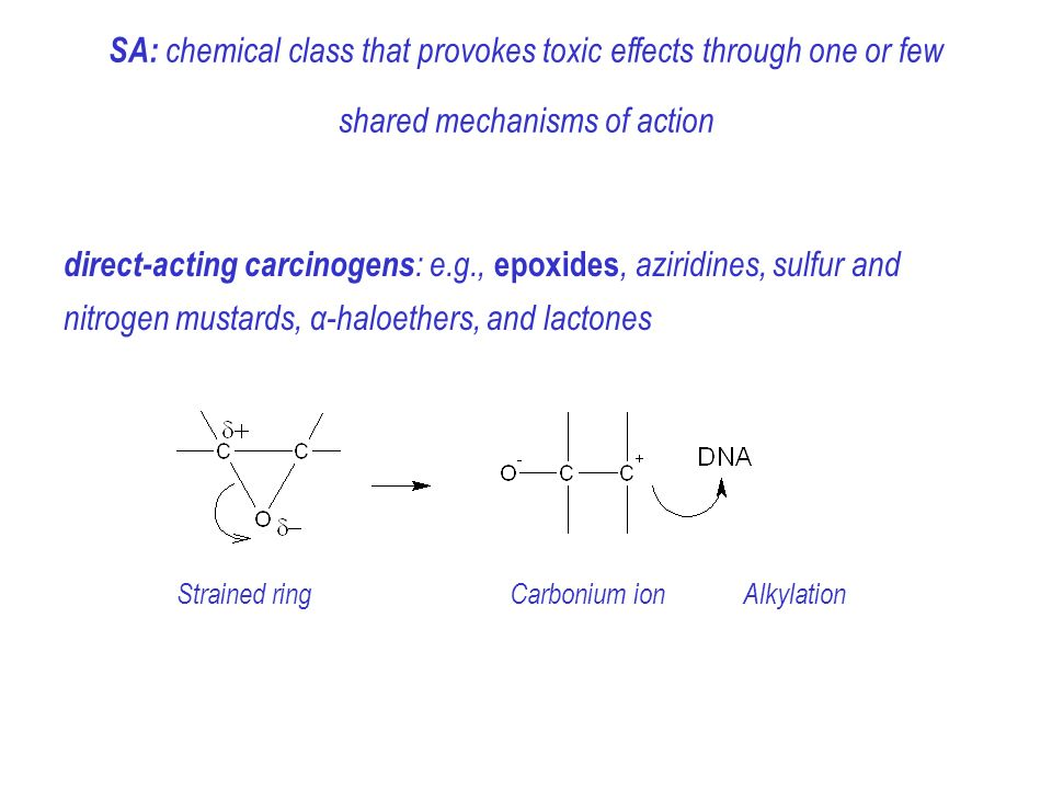 SA: chemical class that provokes toxic effects through one or few shared mechanisms of action direct-acting carcinogens : e.g., epoxides, aziridines, sulfur and nitrogen mustards, α-haloethers, and lactones Strained ring Carbonium ion Alkylation