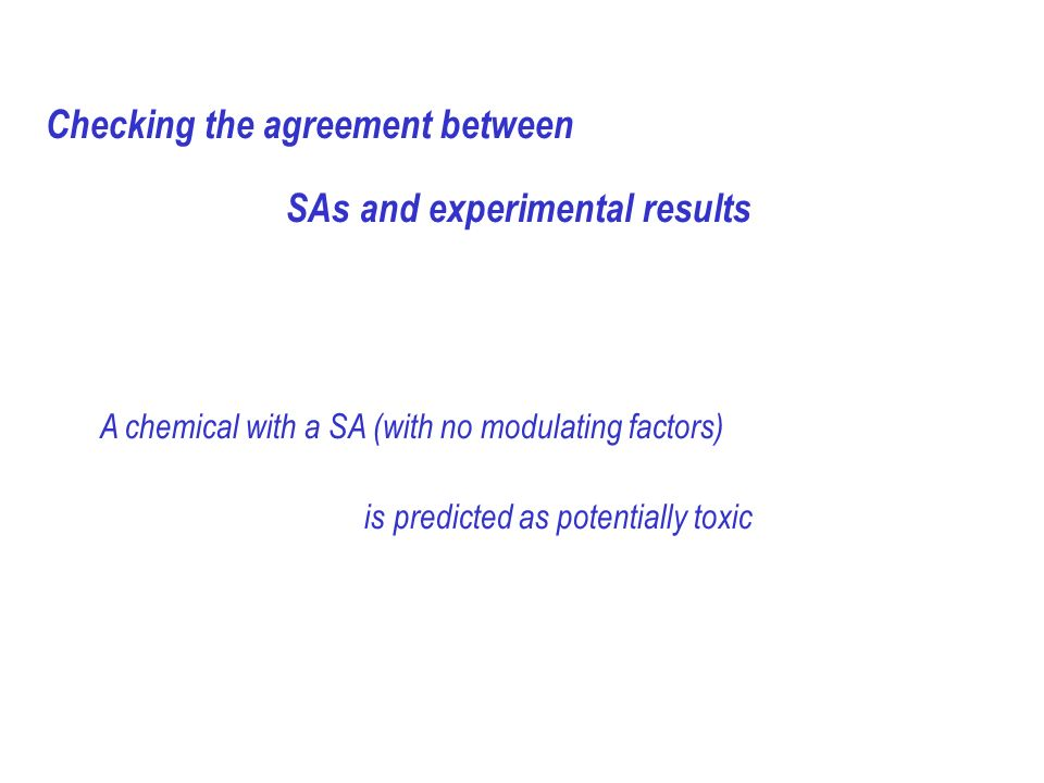 Checking the agreement between SAs and experimental results A chemical with a SA (with no modulating factors) is predicted as potentially toxic
