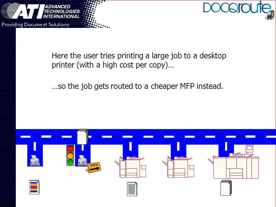 Here the user tries printing a large job to a desktop printer (with a high cost per copy)… …so the job gets routed to a cheaper MFP instead.