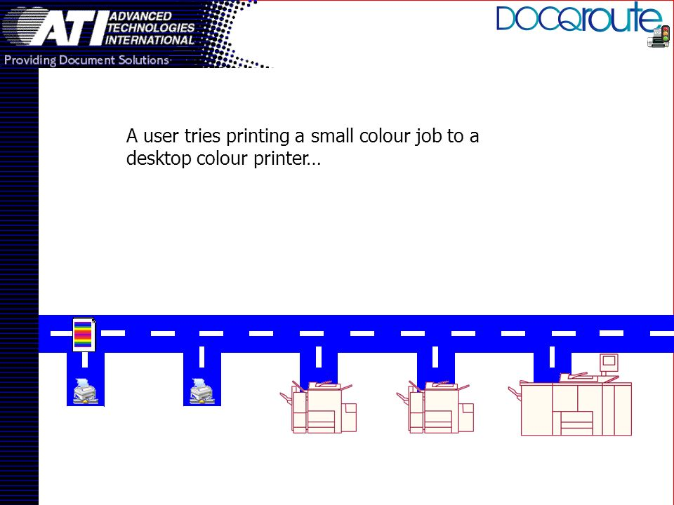 A user tries printing a small colour job to a desktop colour printer…