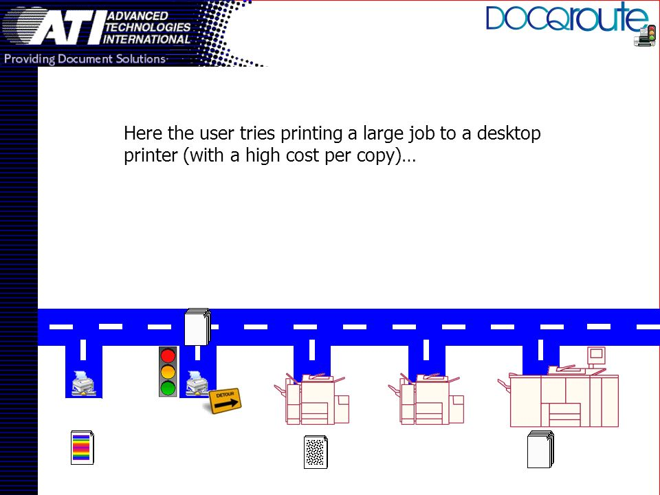 Here the user tries printing a large job to a desktop printer (with a high cost per copy)…