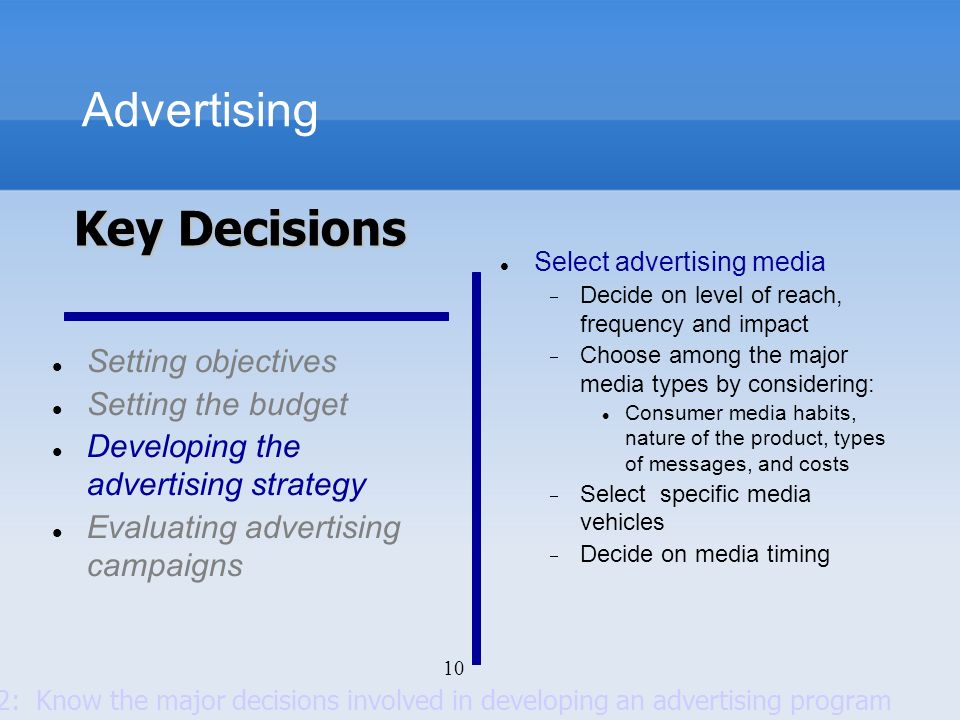 10 Advertising Setting objectives Setting the budget Developing the advertising strategy Evaluating advertising campaigns Select advertising media Dec