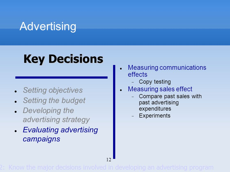 12 Advertising Setting objectives Setting the budget Developing the advertising strategy Evaluating advertising campaigns Measuring communications eff