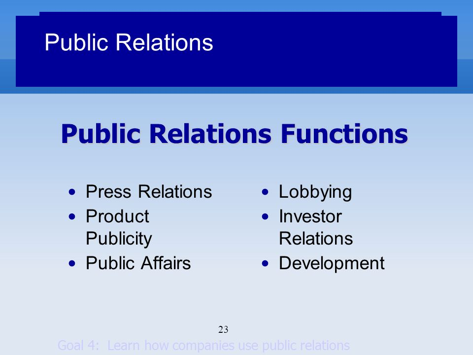 23 Public Relations Functions Public Relations Press Relations Product Publicity Public Affairs Lobbying Investor Relations Development Goal 4: Learn