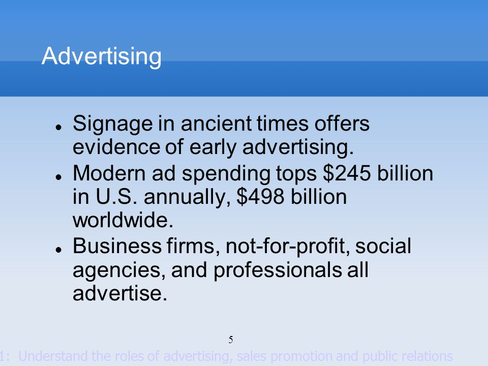 6 Advertising Setting objectives Setting the budget Developing the advertising strategy Evaluating advertising campaigns Advertising objectives can be classified by primary purpose: Inform Introducing new products Persuade Becomes more important as competition increases Comparative advertising Remind Most important for mature products Key Decisions Goal 2: Know the major decisions involved in developing an advertising program