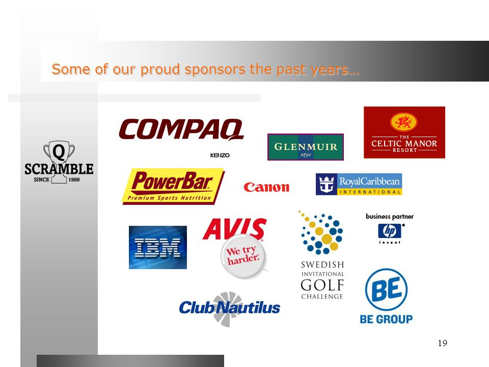 19 Some of our proud sponsors the past years… Some of our proud sponsors the past years…