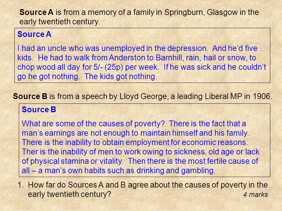 Source A is from a memory of a family in Springburn, Glasgow in the early twentieth century.