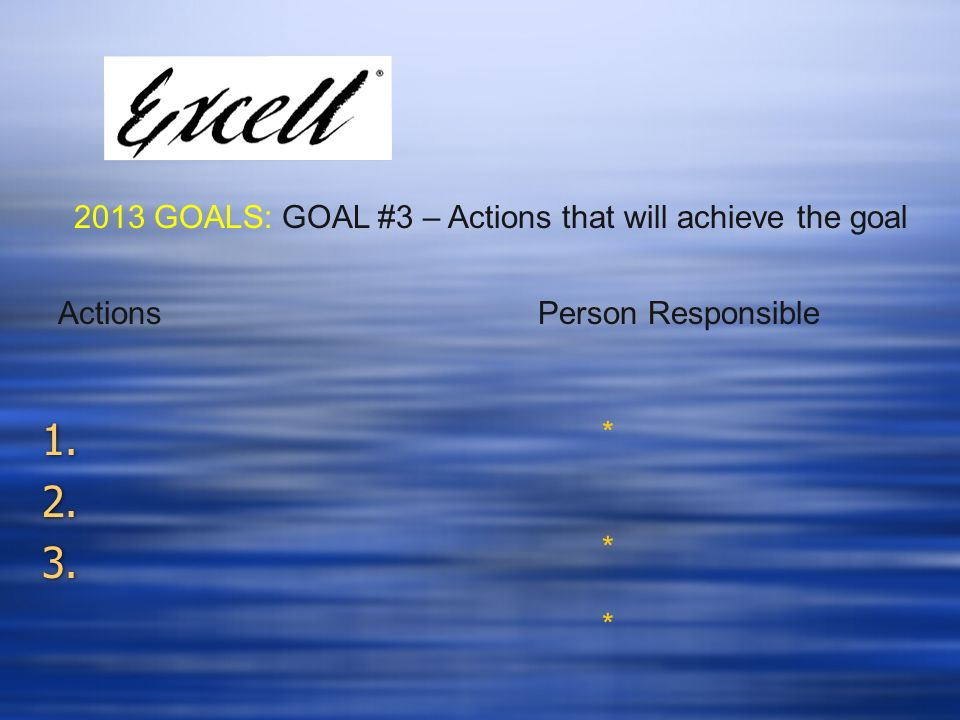 1. 2. 3. 1. 2. 3. 2013 GOALS: GOAL #3 – Actions that will achieve the goal ****** Actions Person Responsible