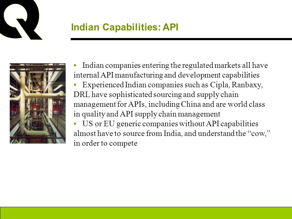 Indian Capabilities: API Indian companies entering the regulated markets all have internal API manufacturing and development capabilities Experienced