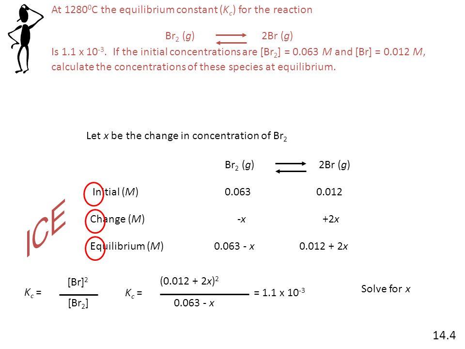 K c = (0.012 + 2x) 2 0.063 - x = 1.1 x 10 -3 4x 2 + 0.048x + 0.000144 = 0.0000693 – 0.0011x 4x 2 + 0.0491x + 0.0000747 = 0 ax 2 + bx + c =0 -b ± b 2 – 4ac 2a2a x = Br 2 (g) 2Br (g) Initial (M) Change (M) Equilibrium (M) 0.0630.012 -x-x+2x 0.063 - x0.012 + 2x x = -0.00178x = =.00015 At equilibrium, [Br] = 0.012 + 2x = -0.009 Mor 0.00844 M At equilibrium, [Br 2 ] = 0.062 – x = 0.0648 M 14.4