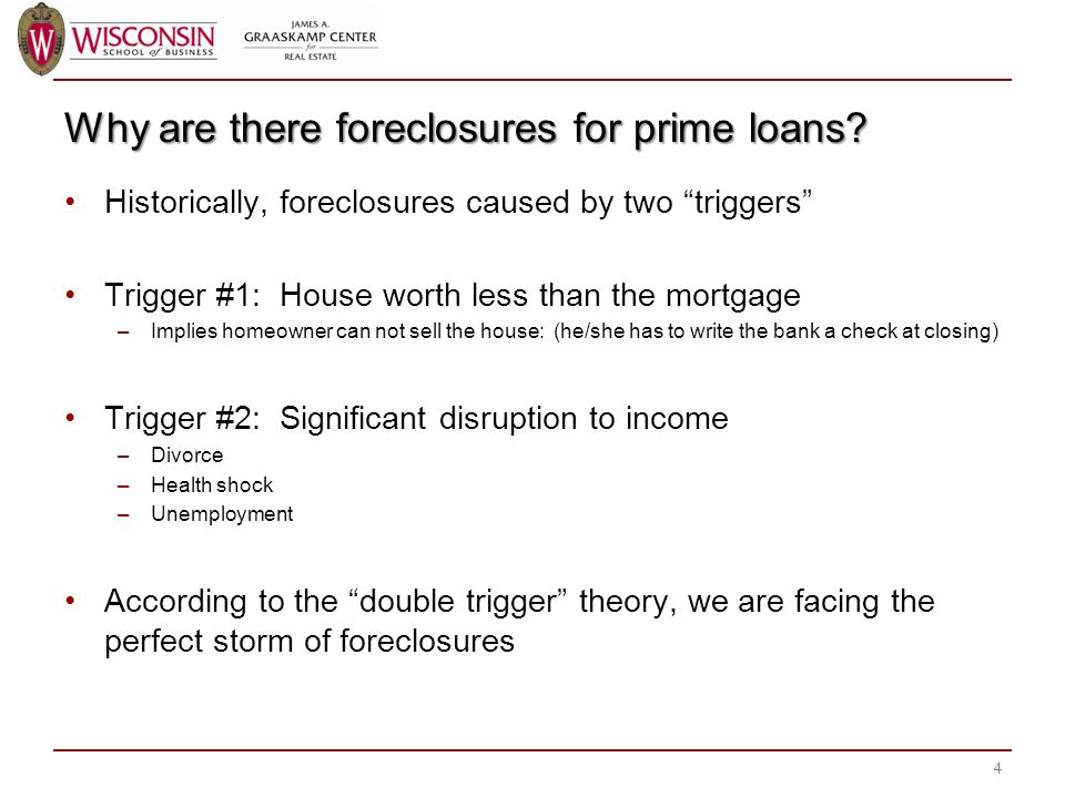 Why are there foreclosures for prime loans.