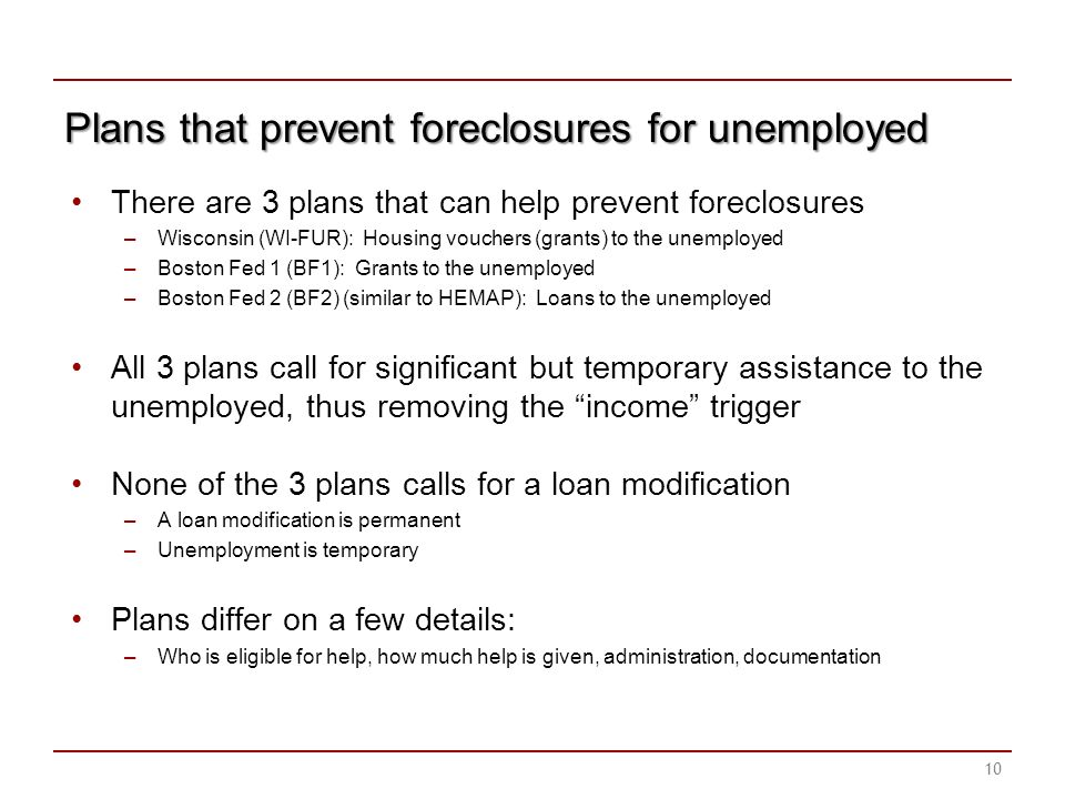 Plans that prevent foreclosures for unemployed There are 3 plans that can help prevent foreclosures –Wisconsin (WI-FUR): Housing vouchers (grants) to