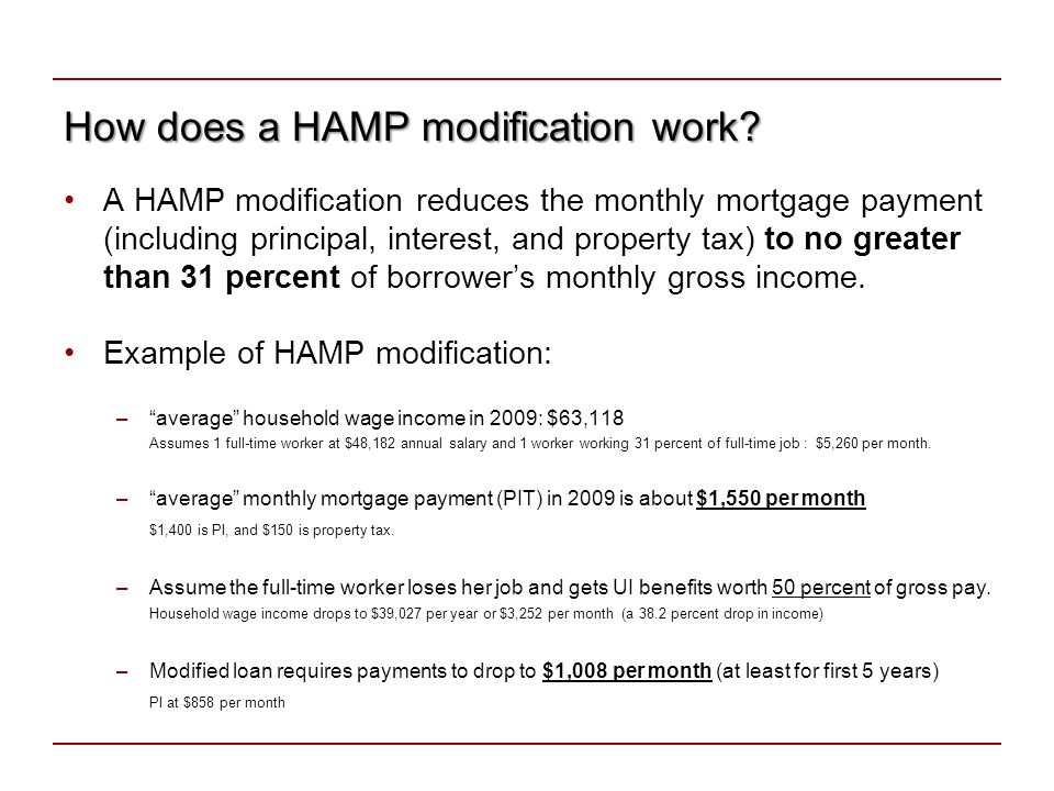 How does a HAMP modification work.