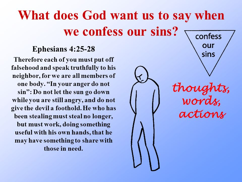 What does God want us to say when we confess our sins.