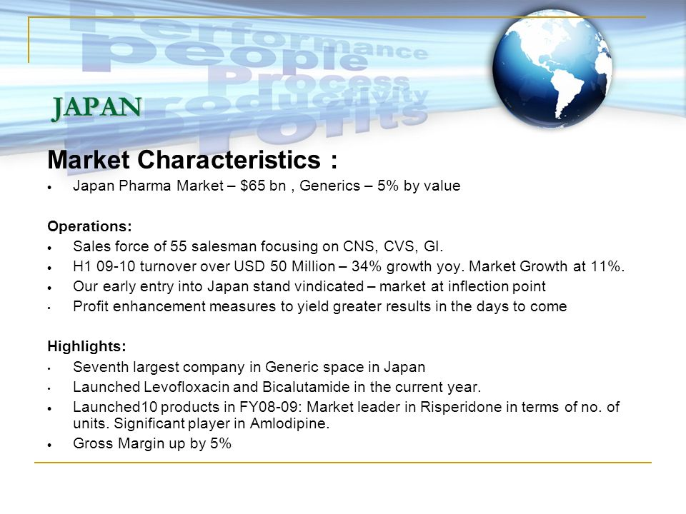 JAPAN Market Characteristics : Japan Pharma Market – $65 bn, Generics – 5% by value Operations: Sales force of 55 salesman focusing on CNS, CVS, GI. H