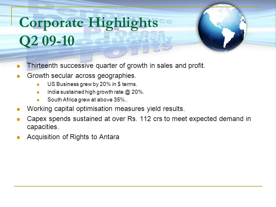 Thirteenth successive quarter of growth in sales and profit. Growth secular across geographies. US Business grew by 20% in $ terms. India sustained hi