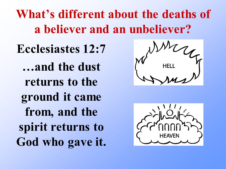 Whats different about the deaths of a believer and an unbeliever? Ecclesiastes 12:7 …and the dust returns to the ground it came from, and the spirit r