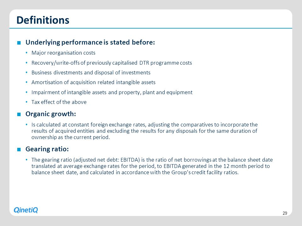 Underlying performance is stated before: Major reorganisation costs Recovery/write-offs of previously capitalised DTR programme costs Business divestm