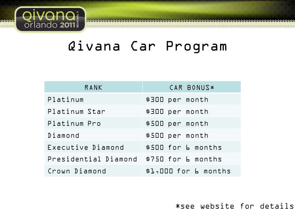 Qivana Car Program RANKCAR BONUS* Platinum$300 per month Platinum Star$300 per month Platinum Pro$500 per month Diamond$500 per month Executive Diamon