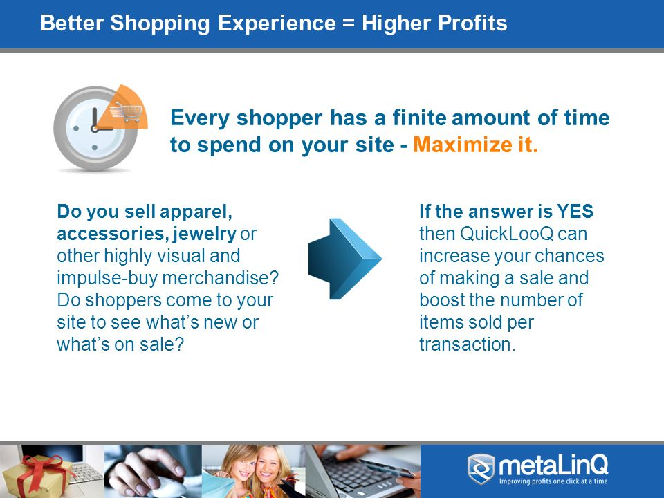 Engage Your Customer and MakeTime Fly They visually entice the shopper to see as many different products as possible.