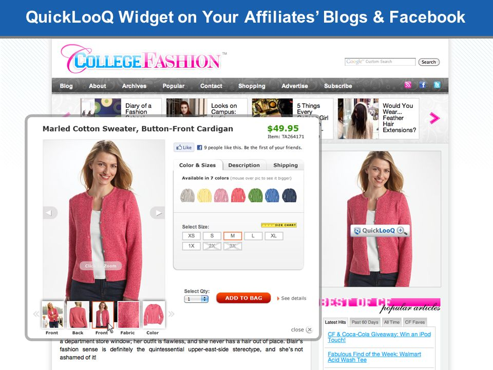 QuickLooQ Widget on Your Affiliates Blogs & Facebook