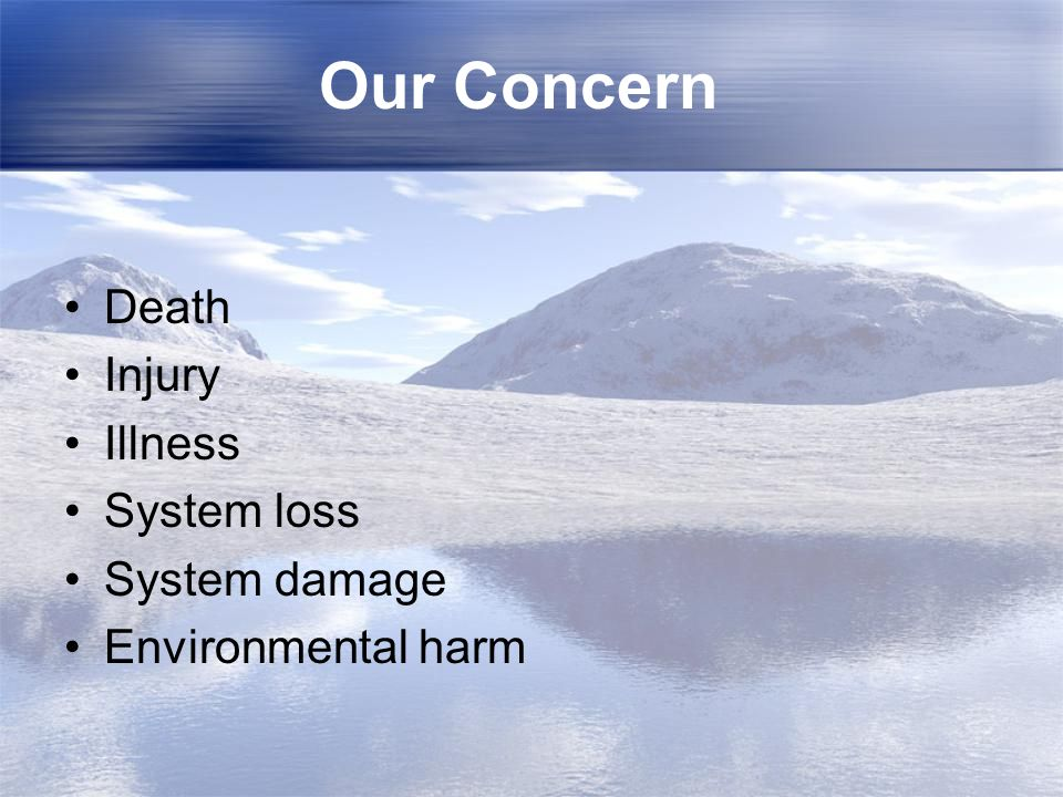 Our Concern Death Injury Illness System loss System damage Environmental harm