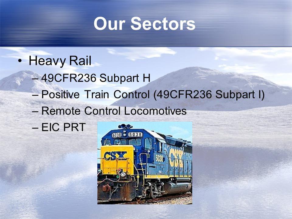 Our Sectors Heavy Rail –49CFR236 Subpart H –Positive Train Control (49CFR236 Subpart I) –Remote Control Locomotives –EIC PRT