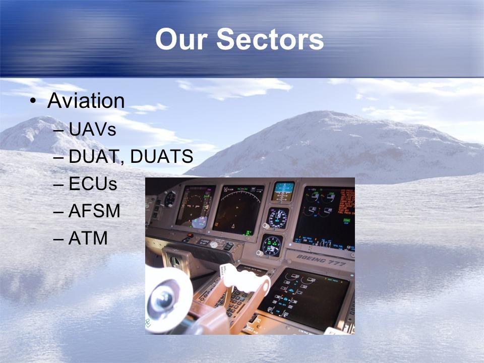 Our Sectors Aviation –UAVs –DUAT, DUATS –ECUs –AFSM –ATM
