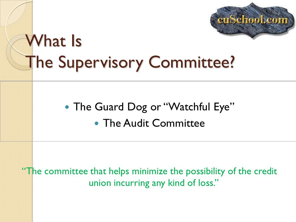 What Is The Supervisory Committee? The Guard Dog or Watchful Eye The Audit Committee The committee that helps minimize the possibility of the credit u