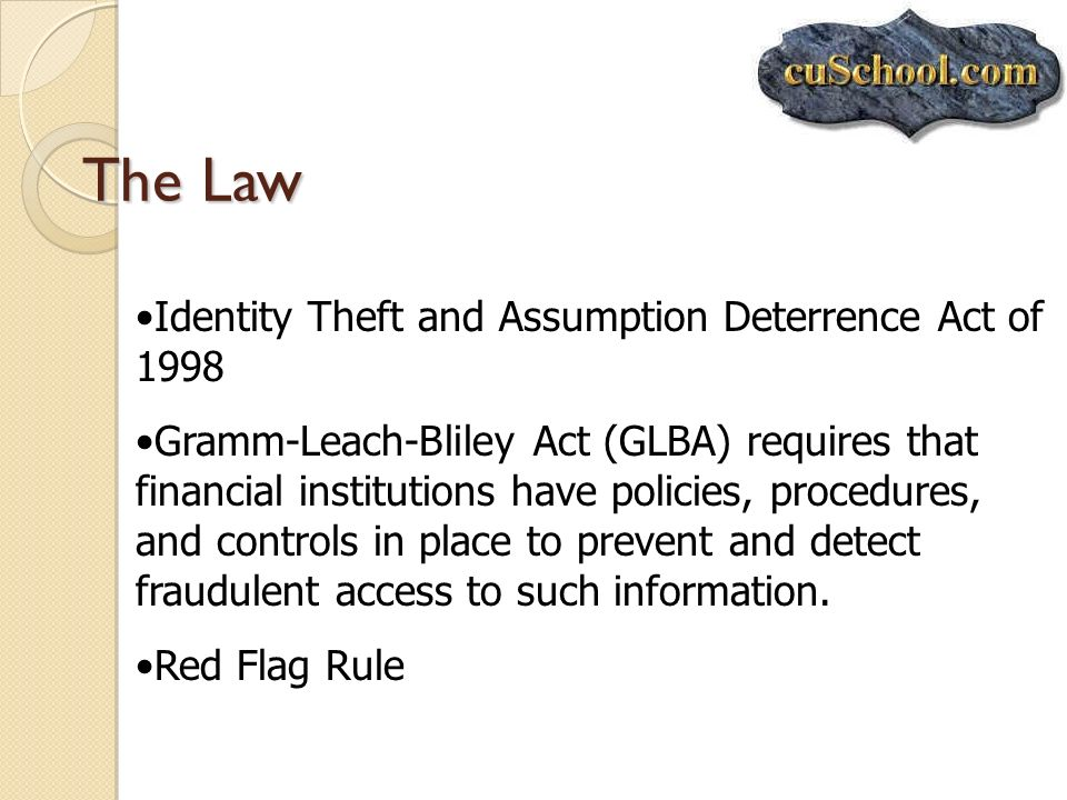 The Law Identity Theft and Assumption Deterrence Act of 1998 Gramm-Leach-Bliley Act (GLBA) requires that financial institutions have policies, procedu