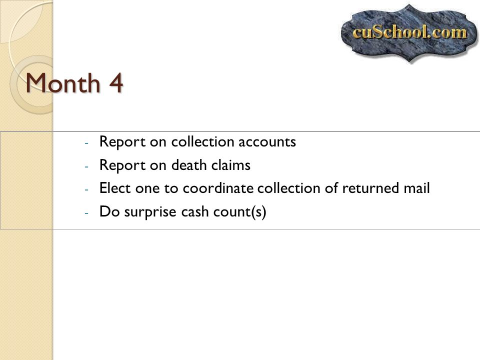 Month 4 - Report on collection accounts - Report on death claims - Elect one to coordinate collection of returned mail - Do surprise cash count(s)
