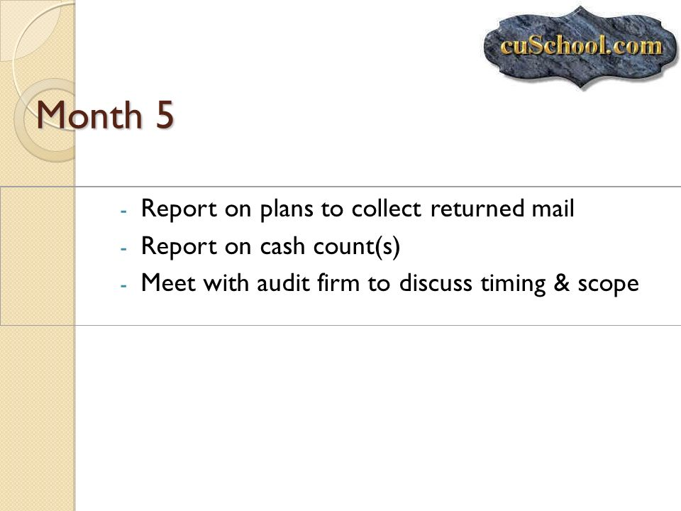 Month 5 - Report on plans to collect returned mail - Report on cash count(s) - Meet with audit firm to discuss timing & scope