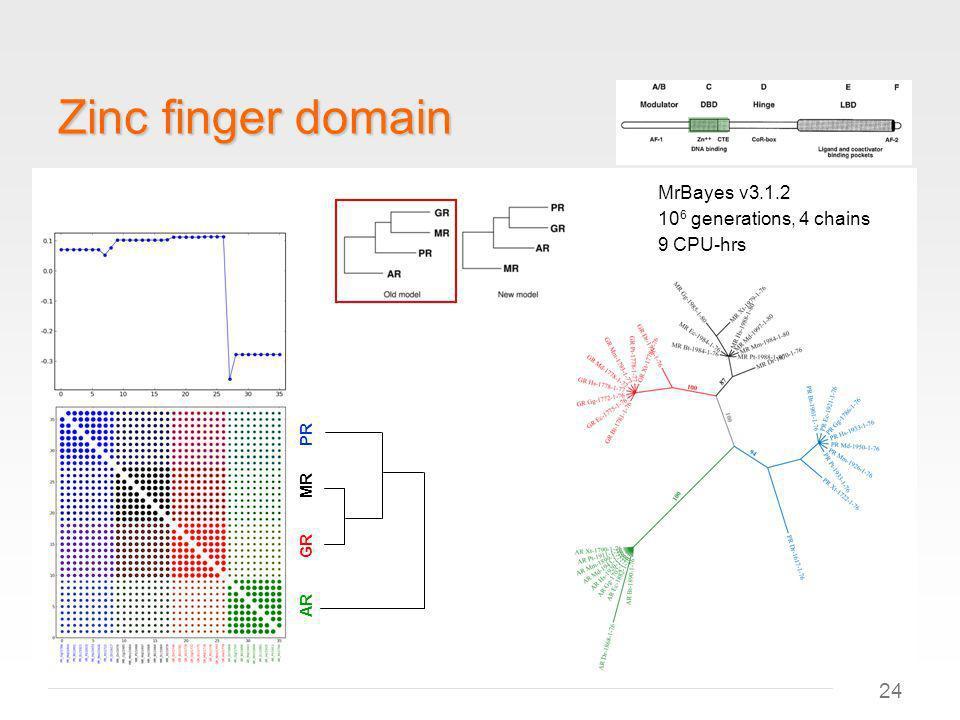 24 Zinc finger domain AR GR MR PR MrBayes v3.1.2 10 6 generations, 4 chains 9 CPU-hrs