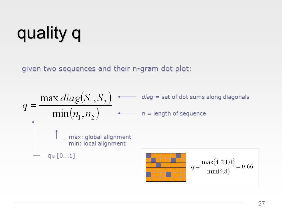 27 quality q max: global alignment min: local alignment diag = set of dot sums along diagonals q [0...1] given two sequences and their n-gram dot plot