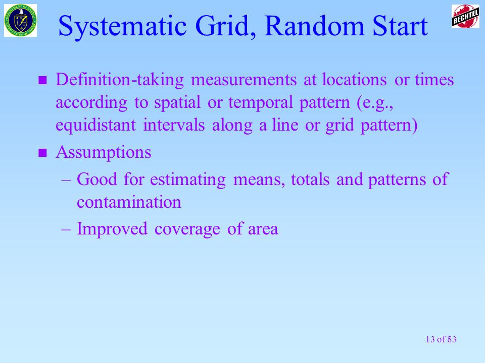 13 of 83 Systematic Grid, Random Start n Definition-taking measurements at locations or times according to spatial or temporal pattern (e.g., equidist