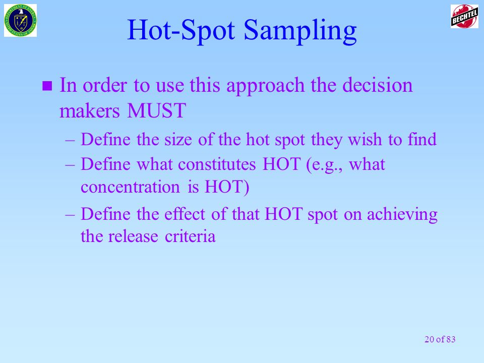 20 of 83 Hot-Spot Sampling n In order to use this approach the decision makers MUST –Define the size of the hot spot they wish to find –Define what co