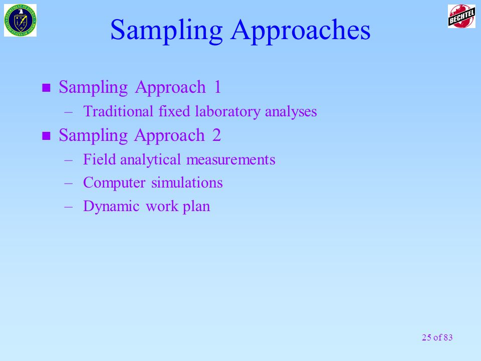 25 of 83 Sampling Approaches n Sampling Approach 1 –Traditional fixed laboratory analyses n Sampling Approach 2 –Field analytical measurements –Comput