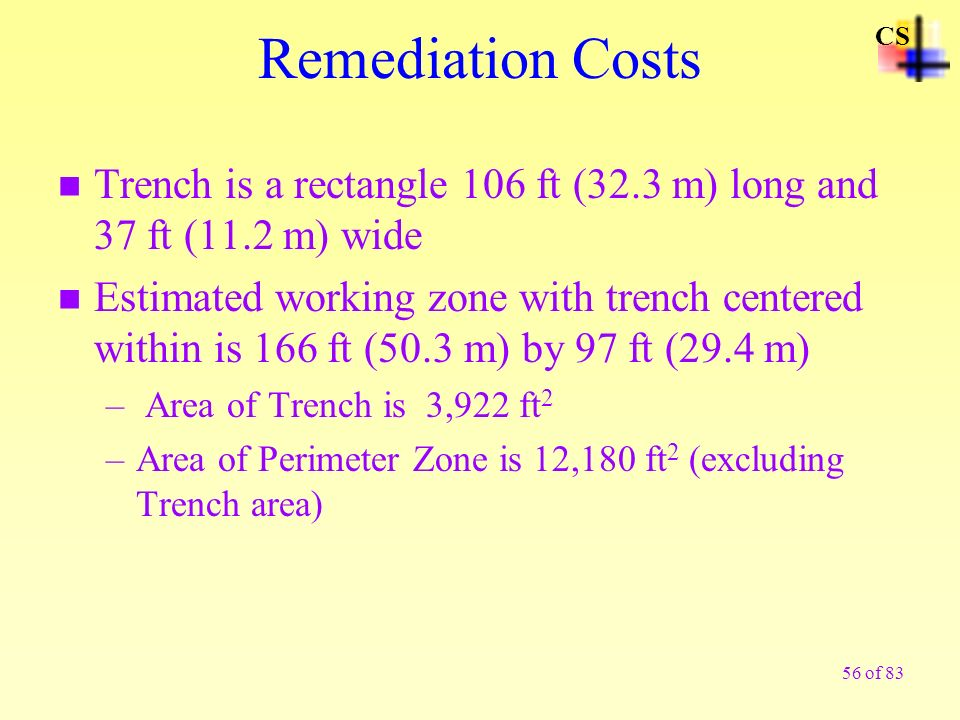 56 of 83 Remediation Costs n Trench is a rectangle 106 ft (32.3 m) long and 37 ft (11.2 m) wide n Estimated working zone with trench centered within i