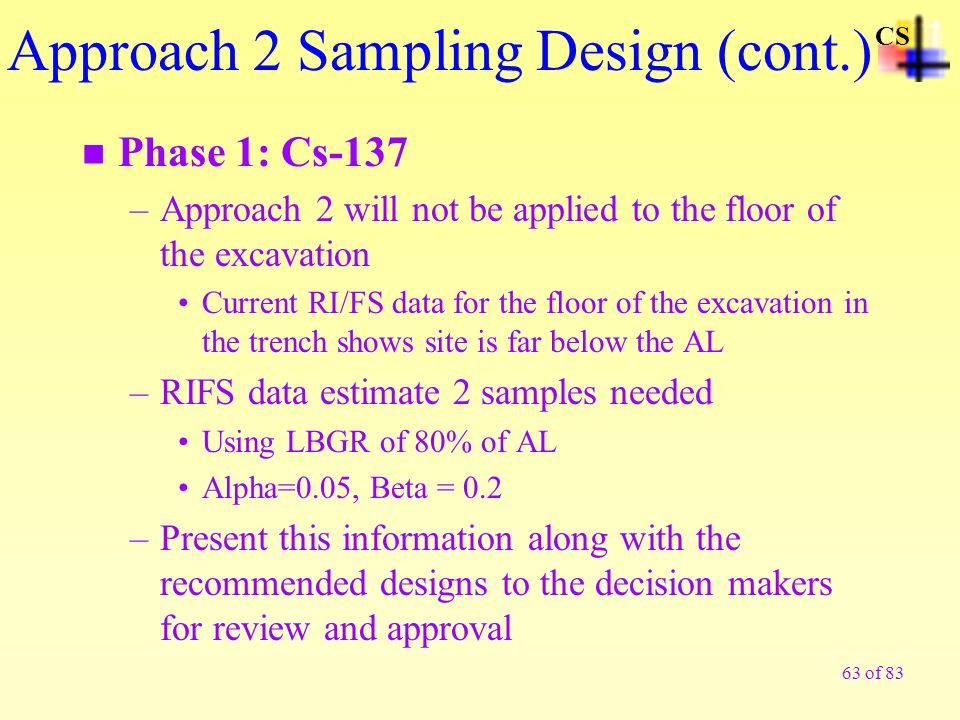 63 of 83 n Phase 1: Cs-137 –Approach 2 will not be applied to the floor of the excavation Current RI/FS data for the floor of the excavation in the tr